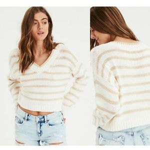 American Eagle Outfitters Striped Cropped Sweater